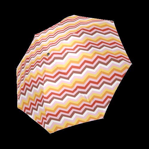 Orange Red White Chevron Pattern Zig Zag Foldable Umbrella (Model U01)