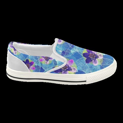 Purple Flowers Women's Slip-on Canvas Shoes (Model 019)