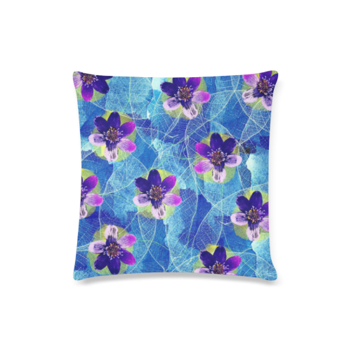 "Purple Flowers Custom Zippered Pillow Case 16""x16""(Twin Sides)"