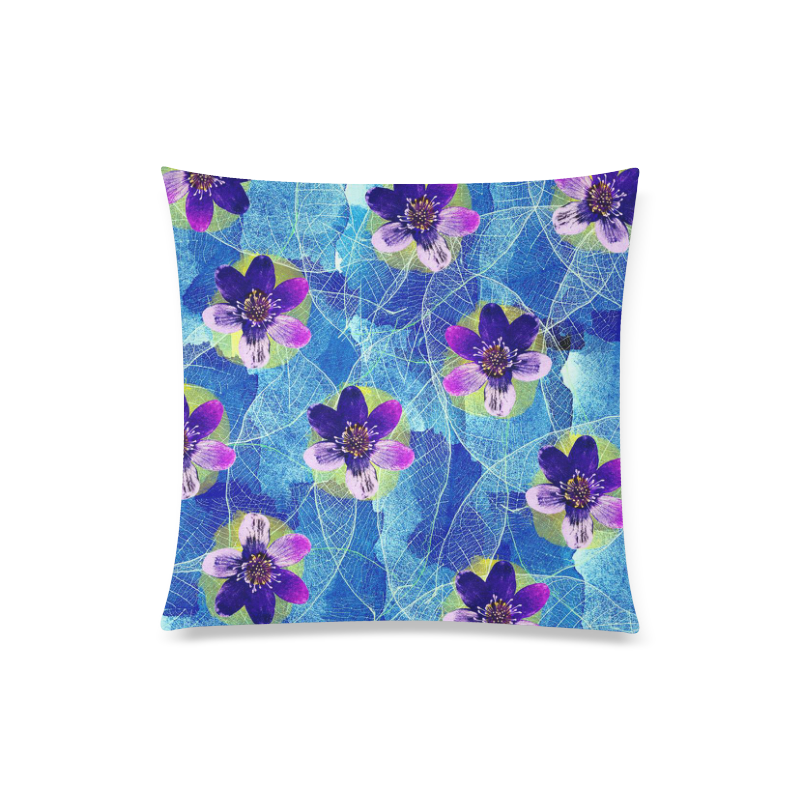 "Purple Flowers Custom Zippered Pillow Case 20""x20""(Twin Sides)"