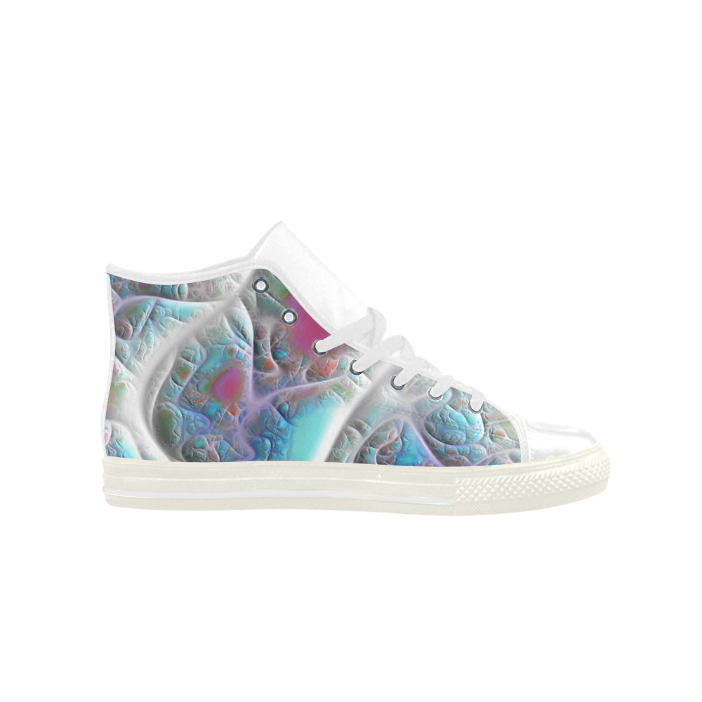 Blue & White Quilt, Abstract Delight Aquila High Top Microfiber Leather Women's Shoes (Model 027)
