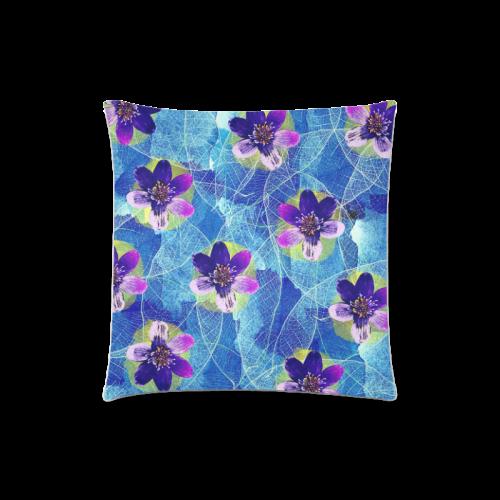 "Purple Flowers Custom Zippered Pillow Case 18""x18""(Twin Sides)"
