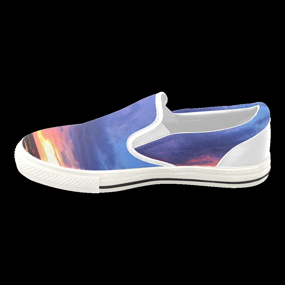 Evening's Face Men's Unusual Slip-on Canvas Shoes (Model 019)