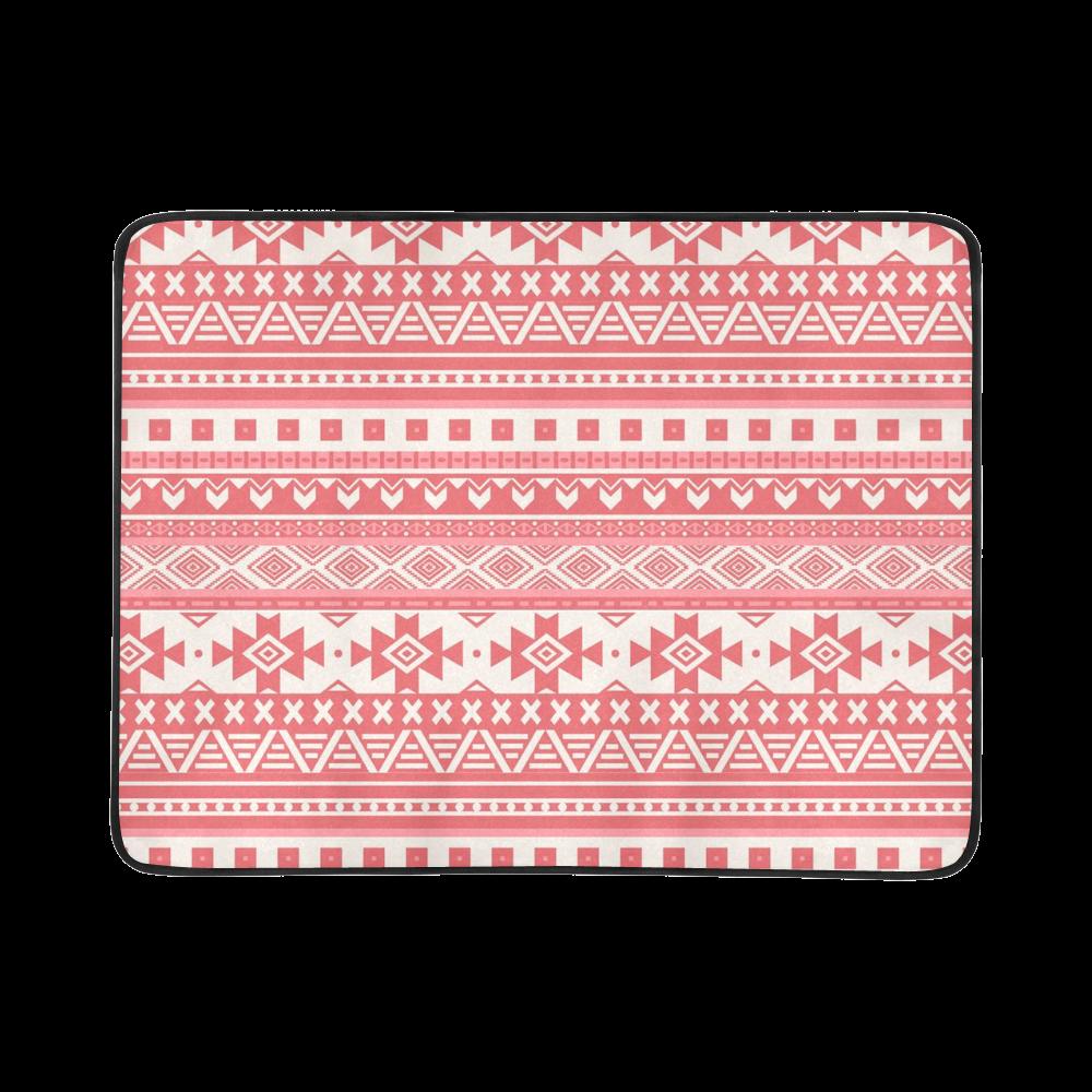 "fancy tribal border pattern 08 red Beach Mat 78""x 60"""