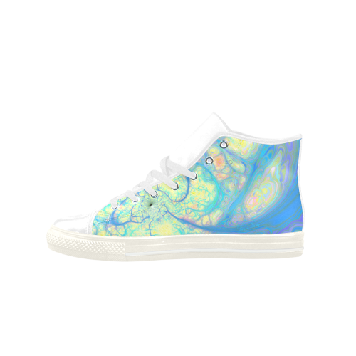 Blue Angel, Abstract Cosmic Azure Lemon Aquila High Top Microfiber Leather Women's Shoes (Model 027)