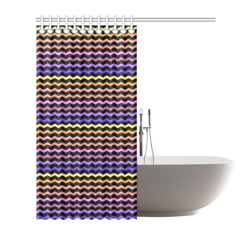 "Colorfull Zig Zag Pattern Chevron Black Shower Curtain 72""x72"""