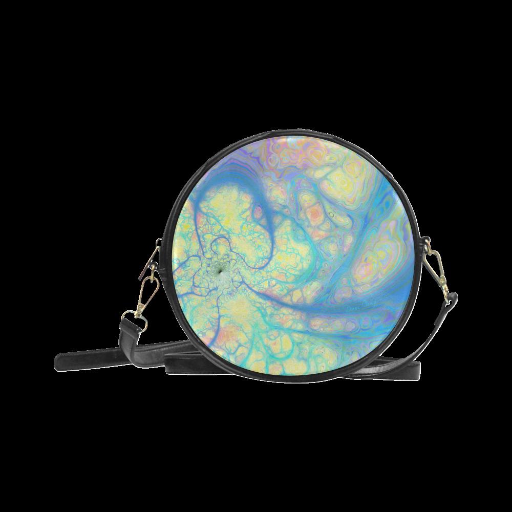 Blue Angel, Abstract Cosmic Azure Lemon Round Sling Bag (Model 1647)