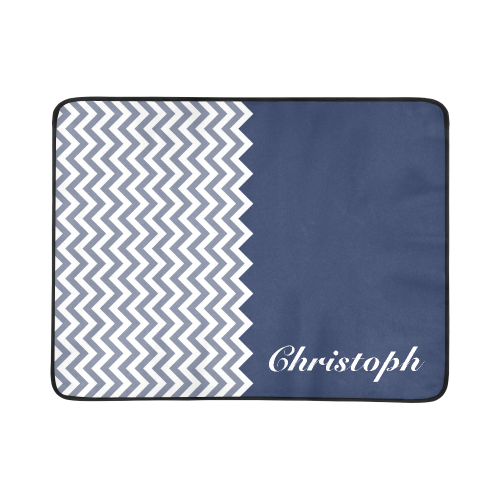 """HIPSTER zigzag chevron pattern white + color blue + your Name Beach Mat 78""""x 60"""""""