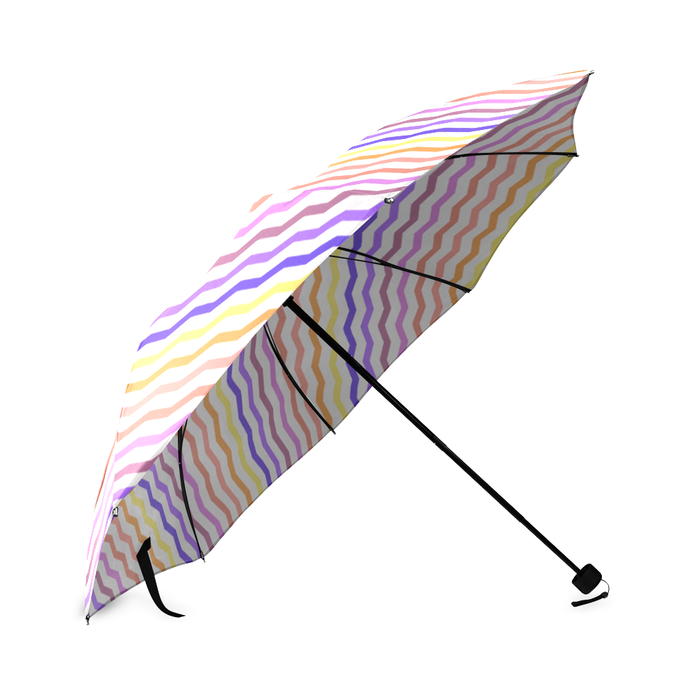 Colorfull Zig Zag Pattern Chevron White Foldable Umbrella (Model U01)