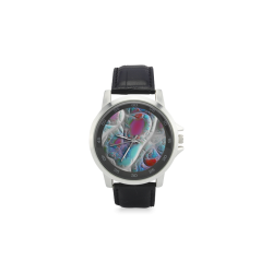 Blue & White Quilt, Abstract Delight Unisex Stainless Steel Leather Strap Watch(Model 202)