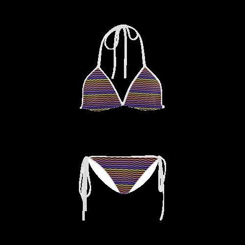 Colorfull Zig Zag Pattern Chevron Black Custom Bikini Swimsuit