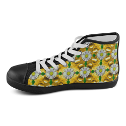 Summer festive in green grass Men's High Top Canvas Shoes (Model 002)