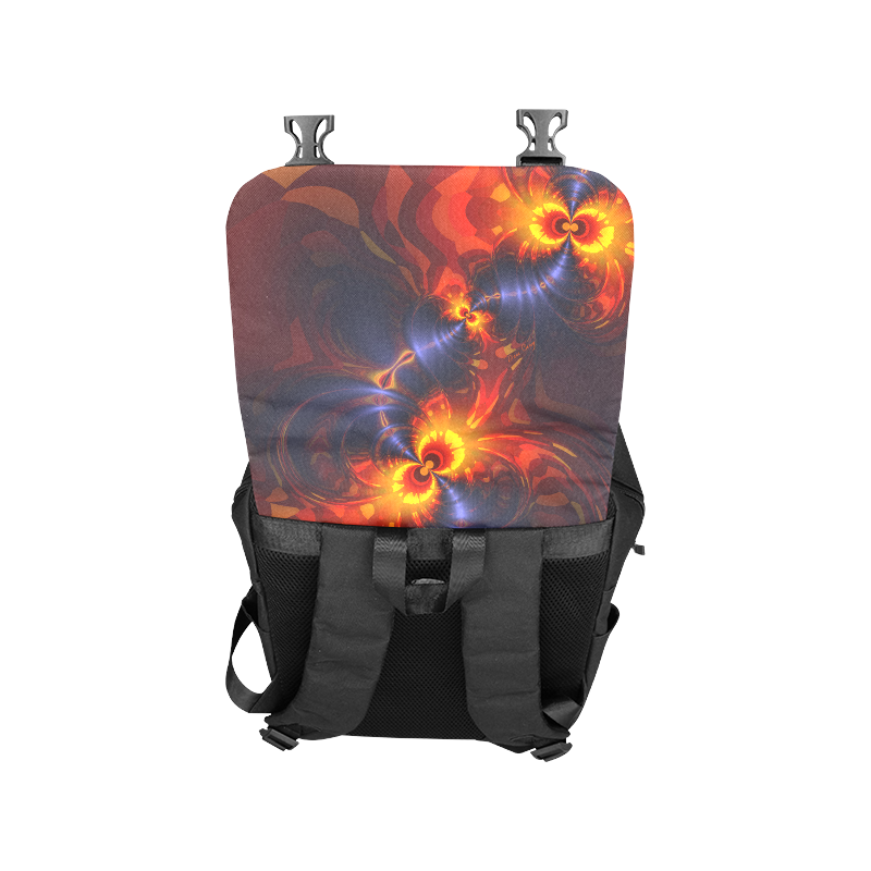 Butterfly Eyes, Abstract Violet Gold Wings Casual Shoulders Backpack (Model 1623)