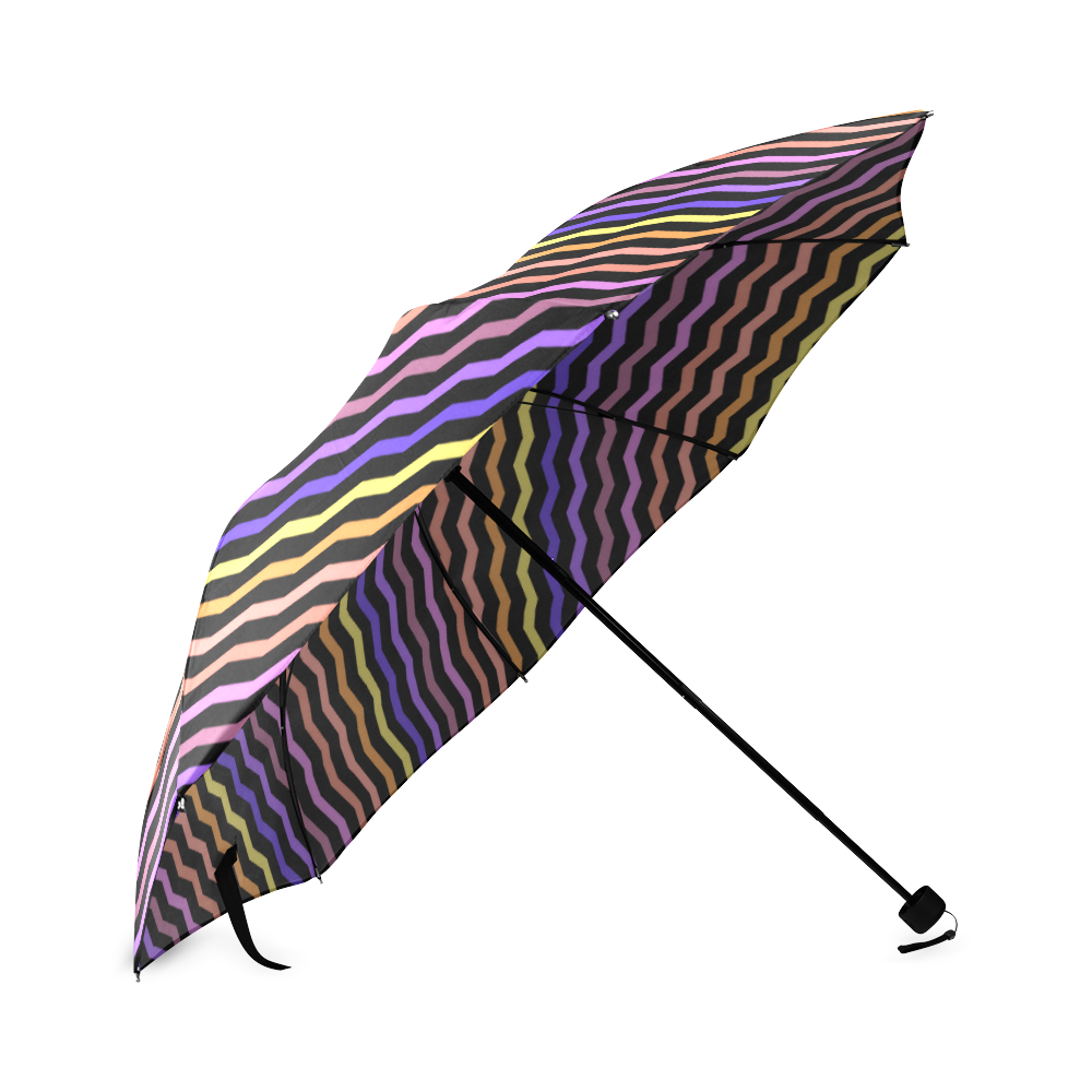 Colorfull Zig Zag Pattern Chevron Black Foldable Umbrella (Model U01)