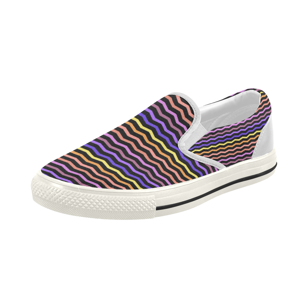 Colorfull Chevron Zig Zag Pattern Black Women's Slip-on Canvas Shoes (Model 019)