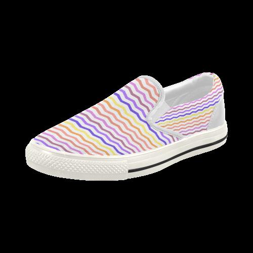 Colorfull Chevron Zig Zag Pattern Women's Slip-on Canvas Shoes (Model 019)