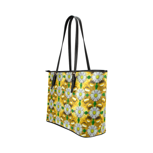 Summer festive in green grass Leather Tote Bag/Large (Model 1651)