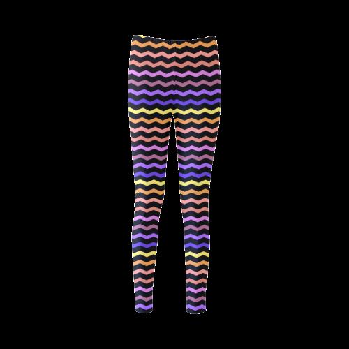 Colorfull Zig Zag Pattern Chevron Black Cassandra Women's Leggings (Model L01)