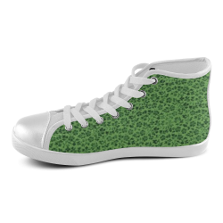 Vintage Flowers Ivy Green Women's High Top Canvas Shoes (Model 002)