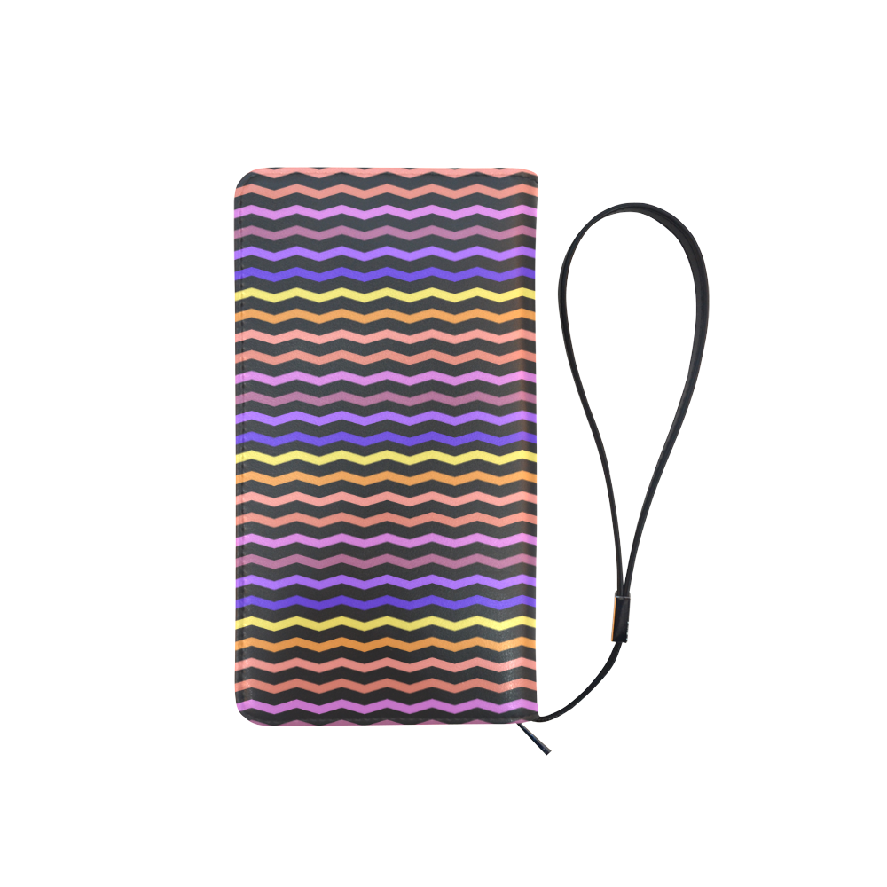 Colorfull Zig Zag Pattern Chevron Black Men's Clutch Purse (Model 1638)