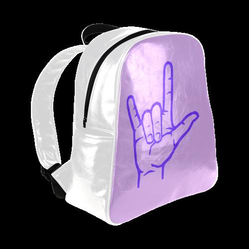 Purple ASL I Love You Multi-Pockets Backpack (Model 1636)