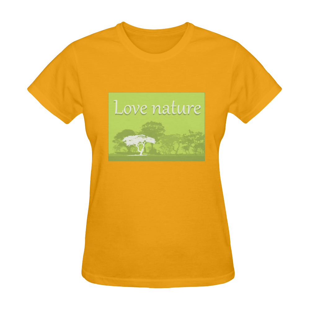 Love Nature Save World Animals Plants Environment Protection Sunny Women's T-shirt (Model T05)