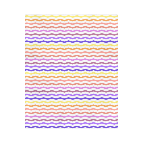 "Colorfull Zig Zag Pattern Chevron White Duvet Cover 86""x70"" ( All-over-print)"