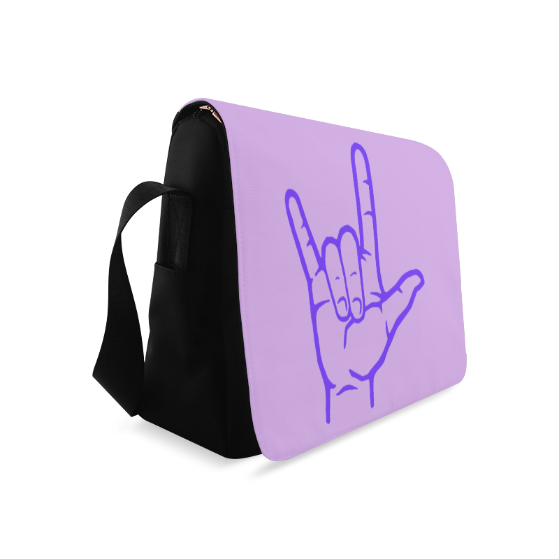 Purple ASL I Love You Messenger Bag (Model 1628)