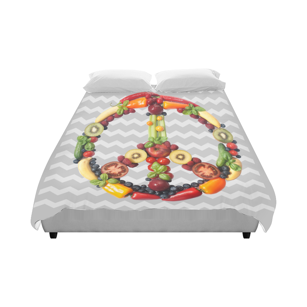 "Peace Symbol Vegan RAW Vegg Save the Earth Duvet Cover 86""x70"" ( All-over-print)"