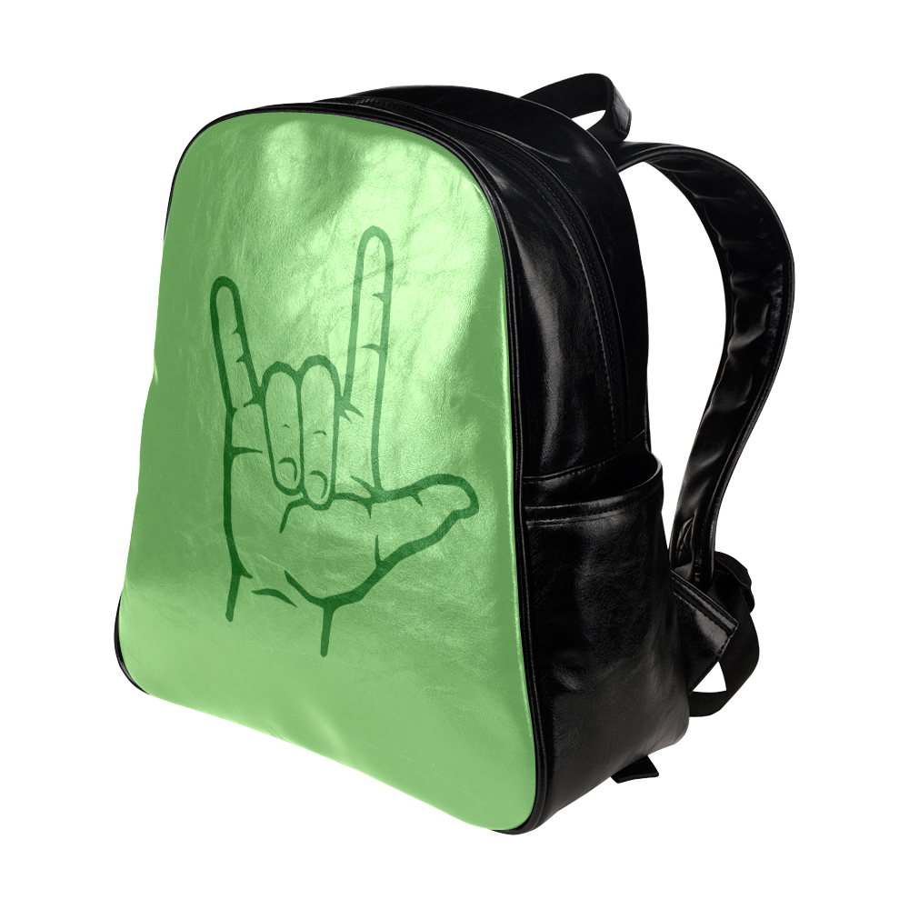 Green ASL I Love You Multi-Pockets Backpack (Model 1636)