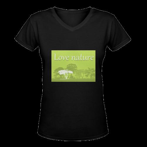 Love Nature Save World Animals Plants Environment Protection Women's Deep V-neck T-shirt (Model T19)