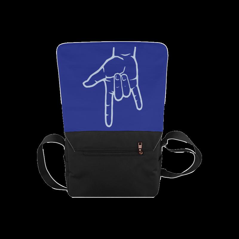 Blue ASL I Love You Messenger Bag (Model 1628)