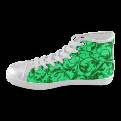 Vintage Swirls Green Women's High Top Canvas Shoes (Model 002)