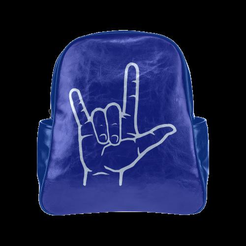 Blue ASL I Love You Multi-Pockets Backpack (Model 1636)