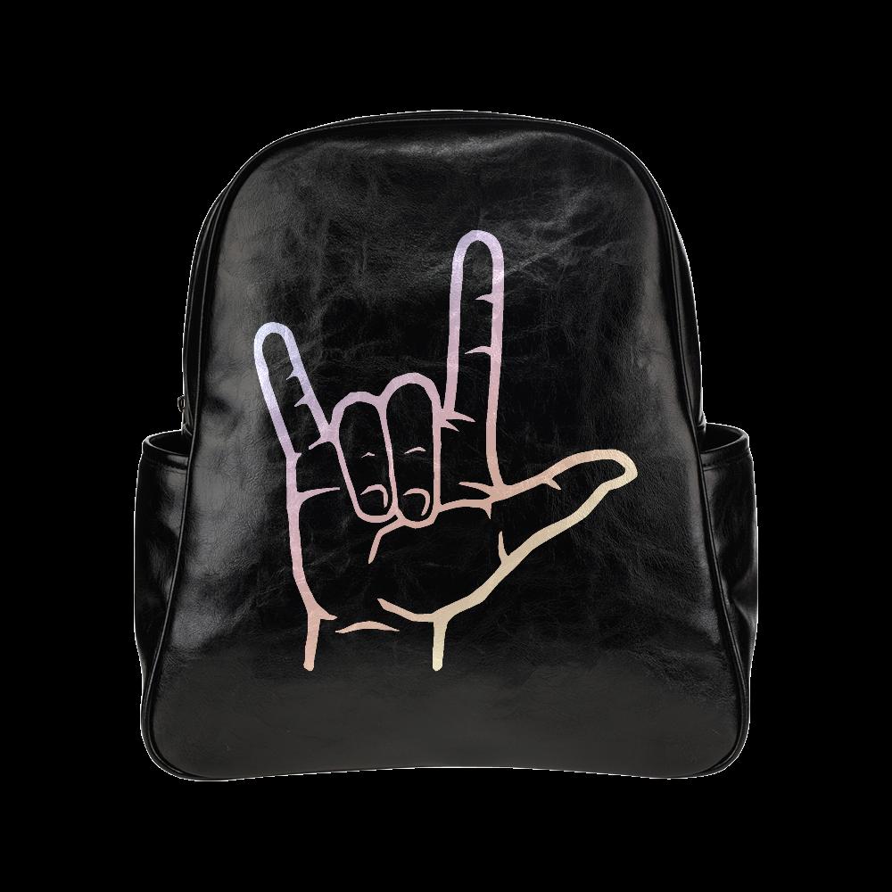 Pastel ASL I Love You Multi-Pockets Backpack (Model 1636)