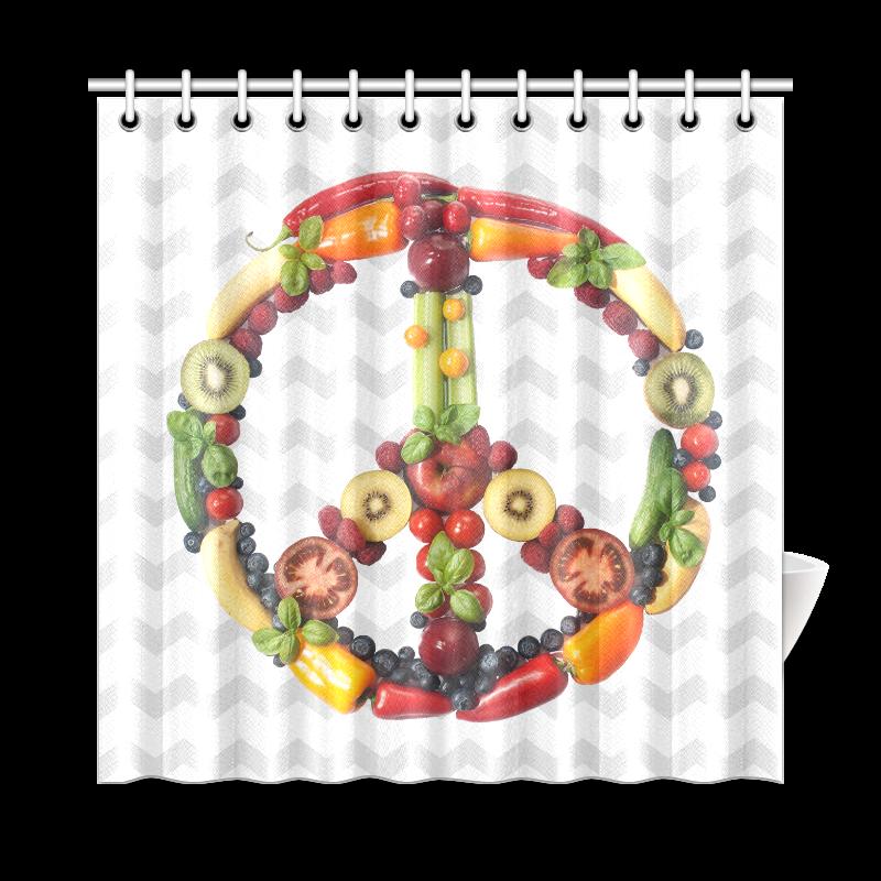 "Peace Symbol Vegan Vegg Think Green RAW Shower Curtain 72""x72"""