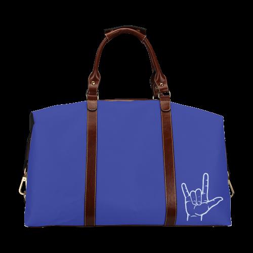 Blue ASL I Love You Classic Travel Bag (Model 1643)