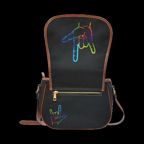 Rainbow Burst ASL I Love You Saddle Bag/Large (Model 1649)