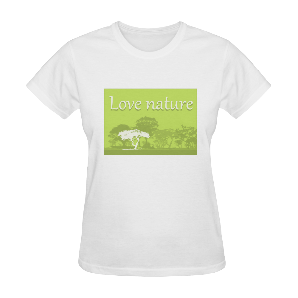 Love Nature Save World Animals Plants Sunny Women's T-shirt (Model T05)