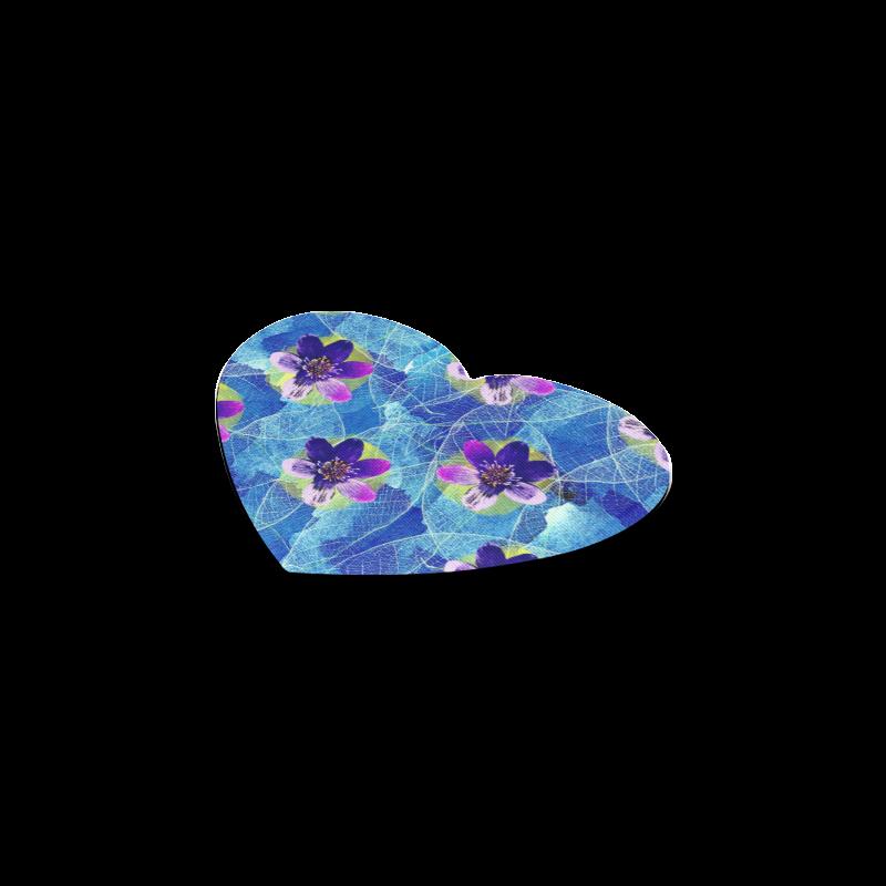 Purple Flowers Heart Coaster
