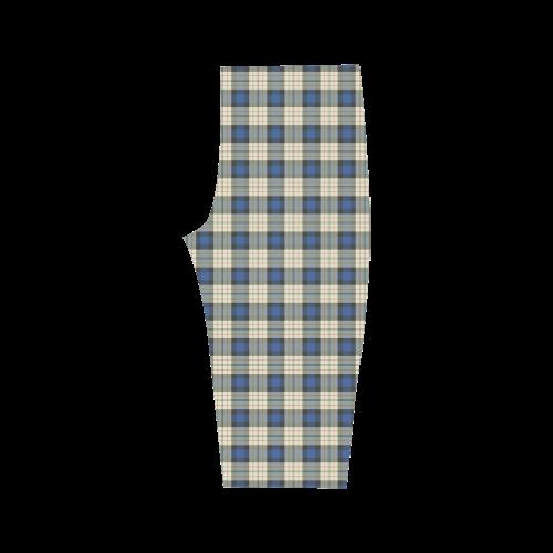 Classic Tartan Squares Fabric - blue beige Hestia Cropped Leggings (Model L03)