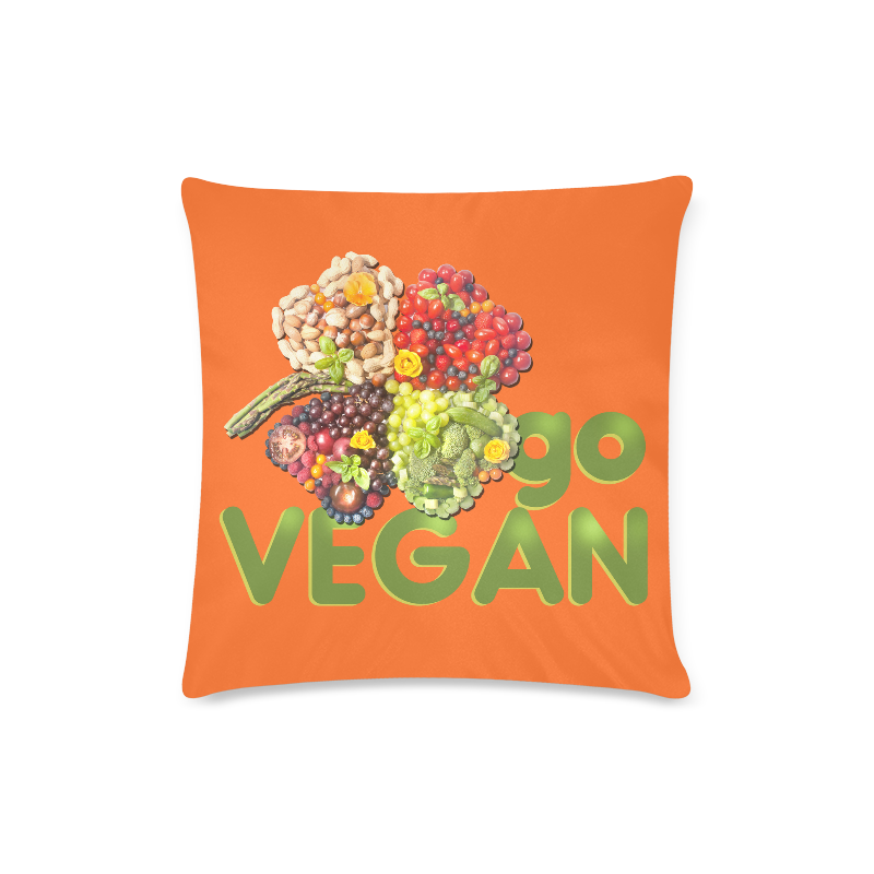 "Vegan Go Cloverleaf Think Green Custom Zippered Pillow Case 16""x16""(Twin Sides)"