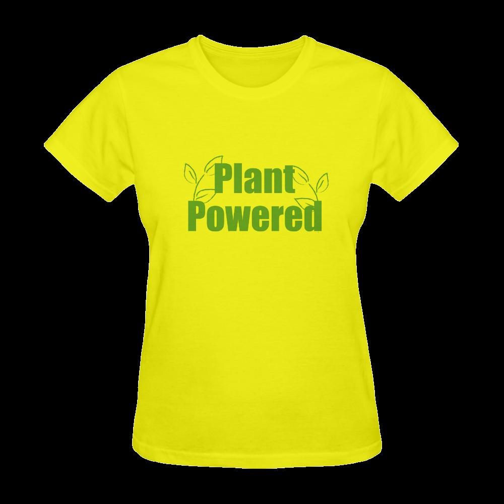 Vegan Plant Powered Think Green Sunny Women's T-shirt (Model T05)