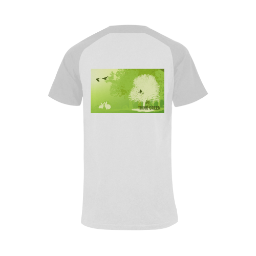 Think Green Rabbit Vegan Animal Liberation Men's Raglan T-shirt (USA Size) (Model T11)