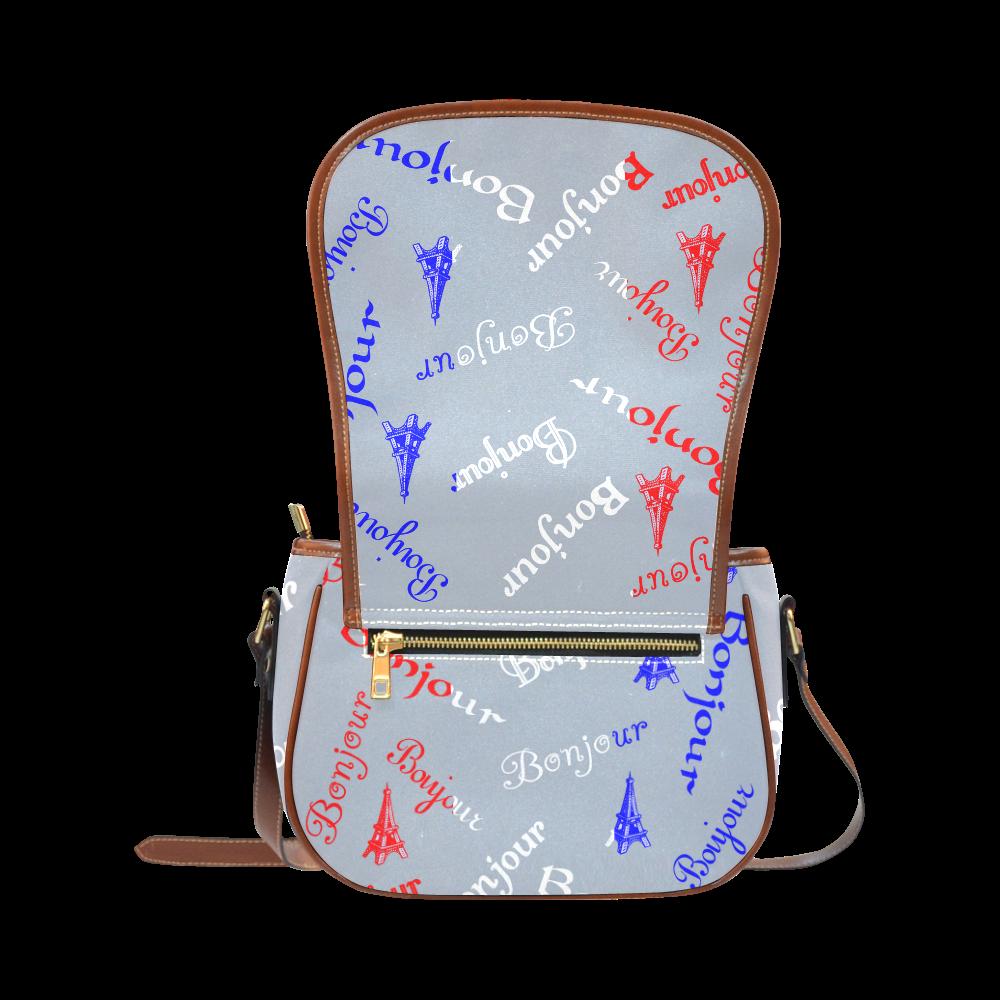 French Flag Bonjour Saddle Bag/Large (Model 1649)