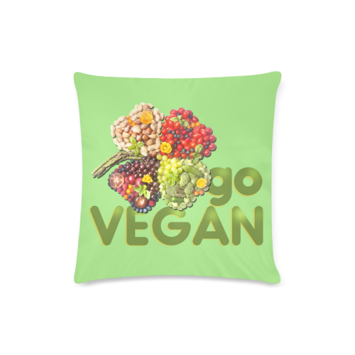 "Vegan Go Cloverleaf Think Green Custom Zippered Pillow Case 16""x16""(Twin Sides)"