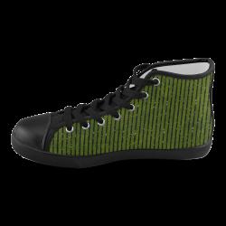 Green Stripe Women's High Top Canvas Shoes (Model 002)