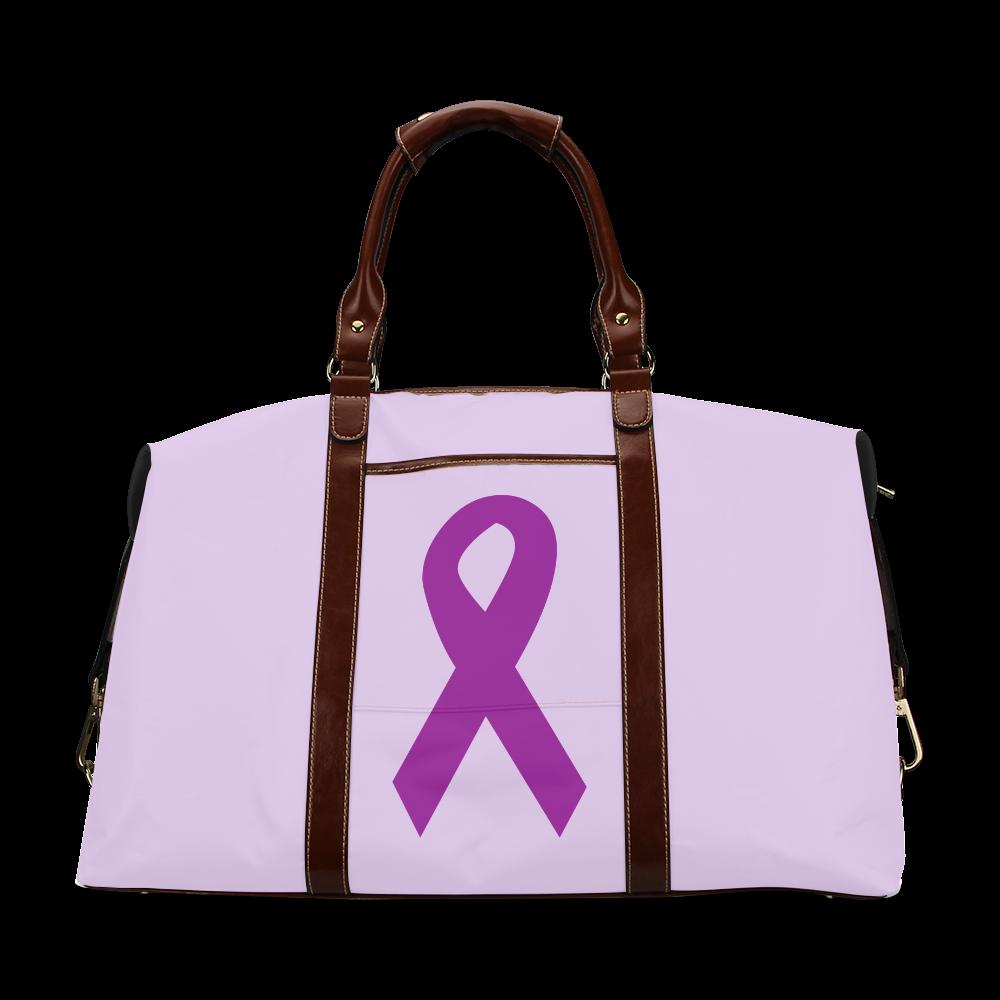 Dark Purple Ribbon Classic Travel Bag (Model 1643)