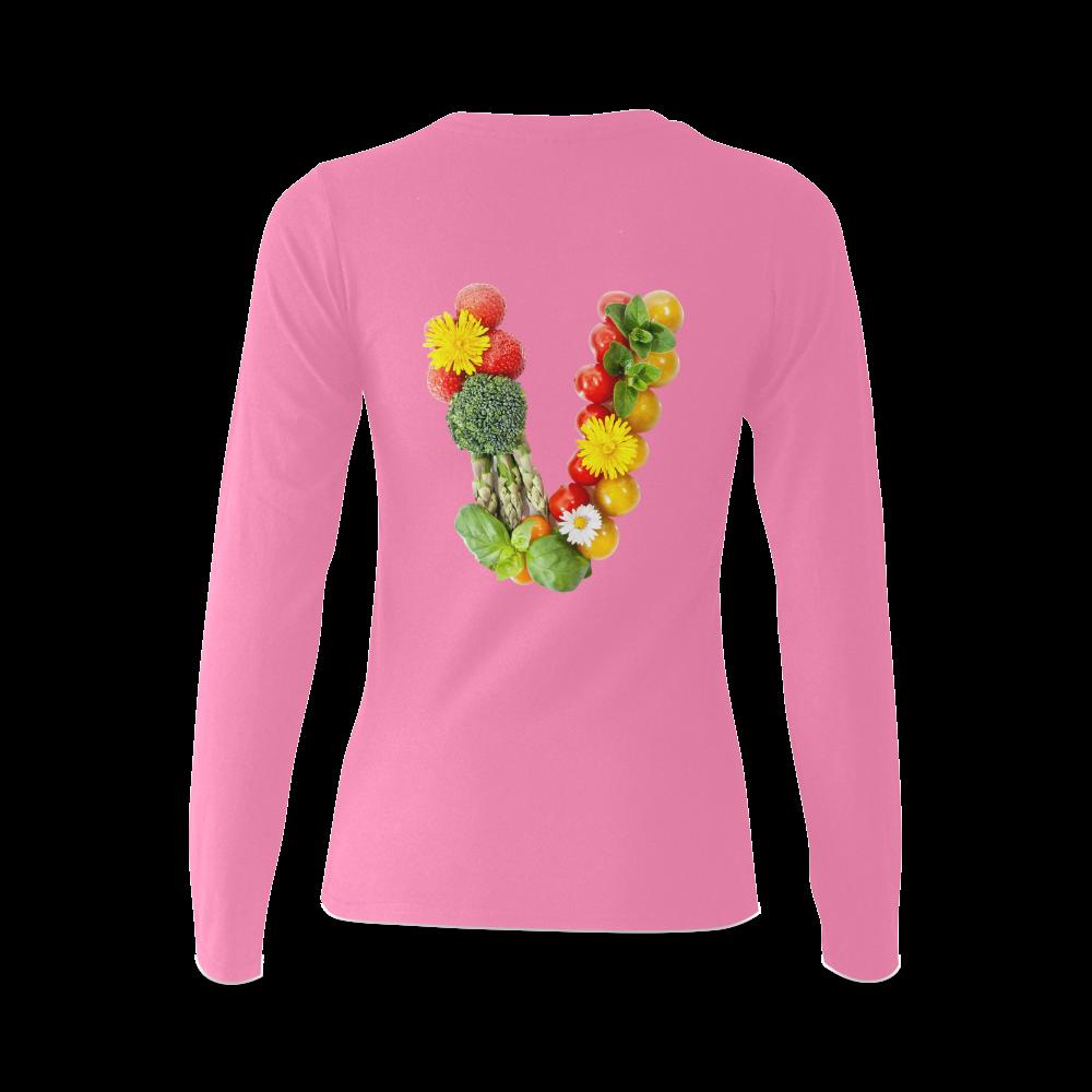 Vegan Fruits Vegetables Think Green Veganism Sunny Women's T-shirt (long-sleeve) (Model T07)