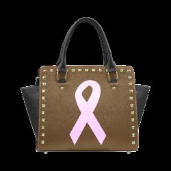 Light Pink Ribbon Rivet Shoulder Handbag (Model 1645)